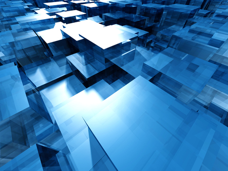 ice brick: Blue Glass Abstract Cubes Background. 3d Render Illustration