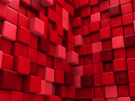squares background: Abstract Red Cubes Wall Background. 3d Render Illustration