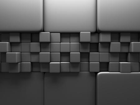 musing: Dark Grey Cube Blocks Wall Background. 3d Render Illustration