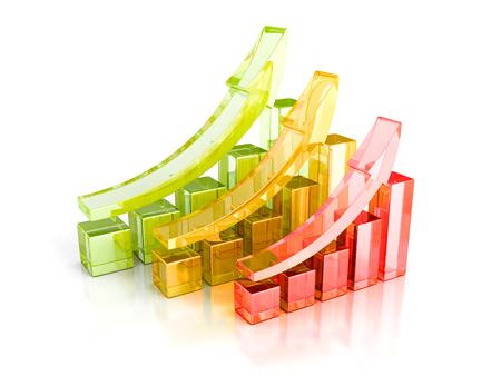 grafica de barras: Gráficos de barras de colores con el crecimiento de las flechas. Negocios concepto del éxito 3d Ilustración