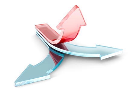 turns: red 3d rising up leader arrow on white background. success leadership concept 3d render illustration Stock Photo