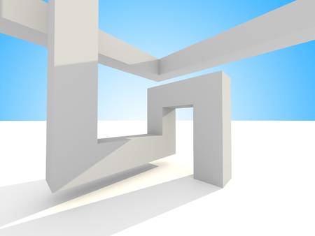 skylight: Abstract Futuristic 3d Architecture Background. 3d render illustration