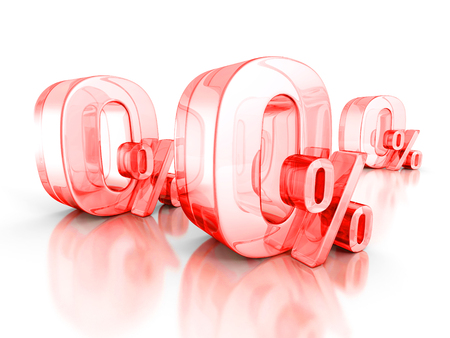installment: zero percent red curved sign on white background. 3d render illustration Stock Photo