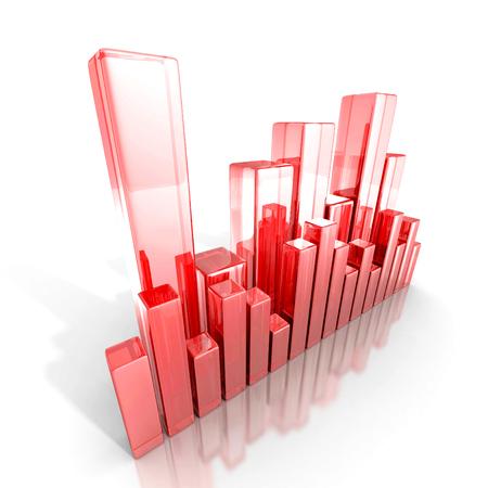 bargraph: Red glass business bar graph diagram. 3d render illustration