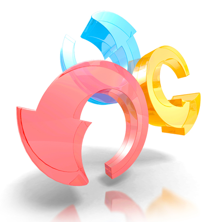 circling: three round colorful arrows on white background. 3d render illustration