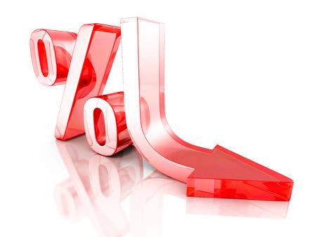 Automne Flèche Symbole Pourcentage d'intérêt Rouge. Financial Concept 3D Render Illustration Banque d'images
