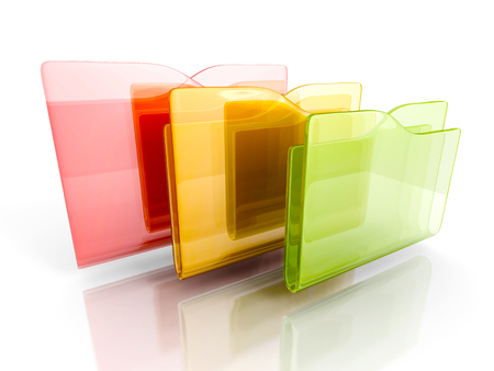 three colorful office folders on white background. 3d render illustration