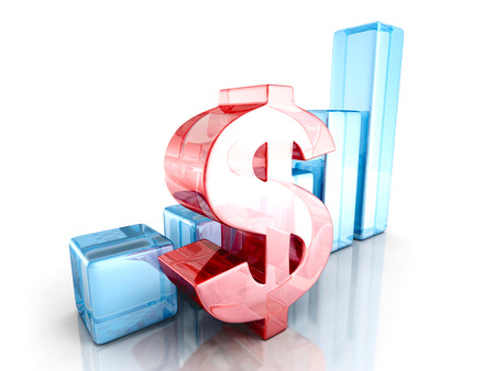 financial success: dollar financial success bar chart graph. 3d render illustration