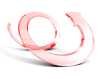 circular arrow: Red glass spiral arrow on white background. 3d render illustration