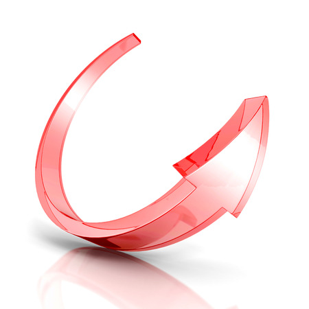 turn on: red glass round arrow on white background. 3d render illustration Stock Photo
