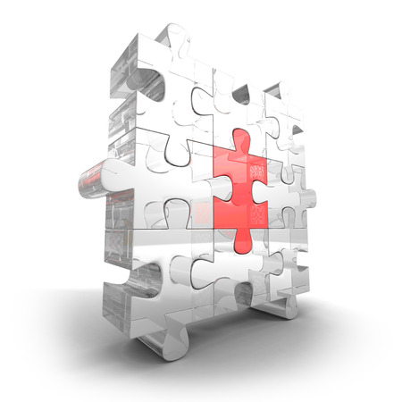 main group: Different Part Of Glass Jigsaw Puzzle. 3d Render Illustration