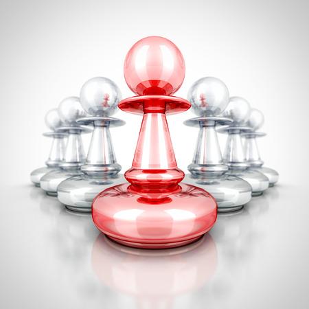 strategic position: Red Leader Winner Pawn Forward Other Group Team. 3d Render Illustration