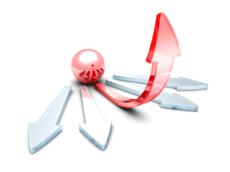 flexible business: glass 3d red ball sphere and success concept arrow. 3d render illustration