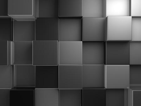 diagonals: Abstract Dark Metallic Cubes Wall Background. 3d Render Illustration
