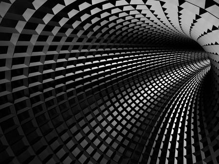 Abstrakt glänzend schwarzes Loch Tunnel Hintergrund. 3d render Illustration