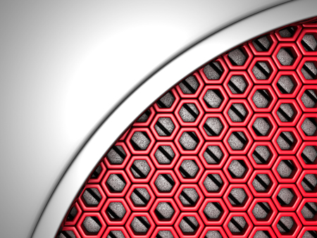 futuristic: Abstract metallic red futuristic background. 3d render illustration Stock Photo