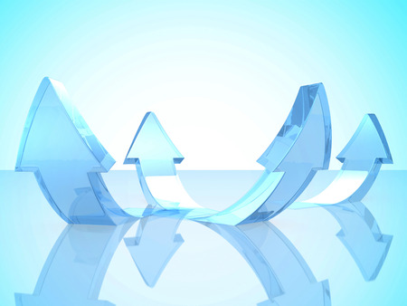 blue glass: Abstract Glass Blue Rising Arrows Background. 3d Render Illustration