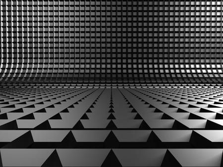 meshed: Dark Metallic Square Industrial Design Background. 3d Render Illustration