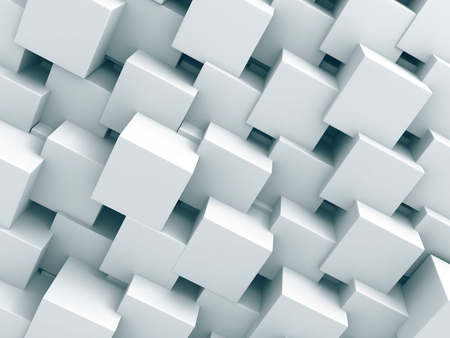 density: Abstract White Cubes Wall Background. 3d Render Illustration
