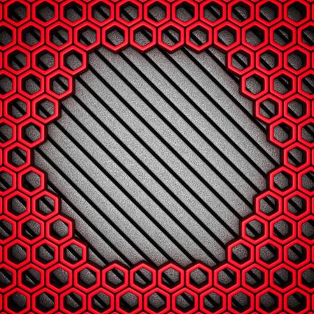 iron fun: Abstract metallic red futuristic background. 3d render illustration Stock Photo