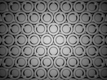 metall: Black Metallic Round Shapes Pattern Background. 3d Render Illustration