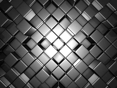 diagonals: Abstract Silver Alluminium Cubes Wall Background. 3d Render Illustration