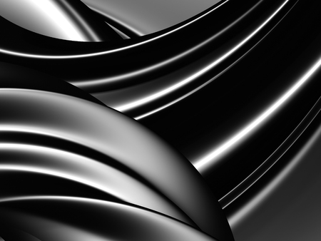 black and silver: Black Silver Abstract Waves Pattern Metal Background. 3d Render Illustration