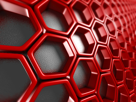 Bright Futuristic Red Hexagon Pattern Background. 3d Render Illustration Stock Photo