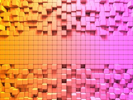 Bright Colorful Cubes Pattern Background. 3d Render illustration