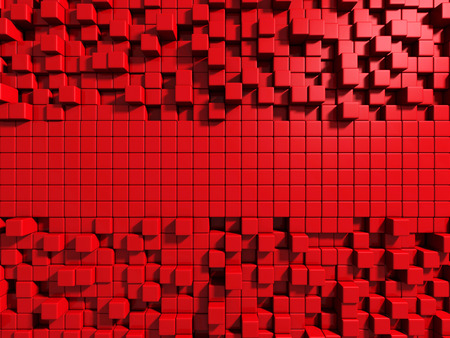Abstract Red Cube Blocks Wall Background. 3d Render Illustration 스톡 콘텐츠