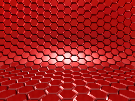 perpendicular: Abstract Glossy Red Hexagon Background. 3d Render Illustration Stock Photo
