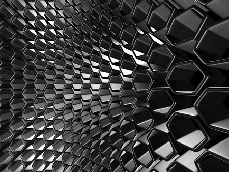 perpendicular: Shiny Hexagon Pattern Dark Metallic Silver Background. 3d Render Illustration