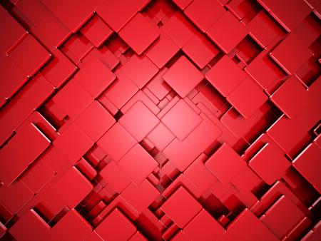 multitude: Red Wall Cube Blocks Background. 3d Render Illustration