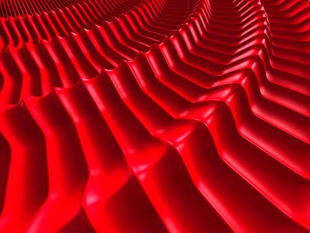 Elegant Soft Red Round Waves Design Background. 3d Render Illustration