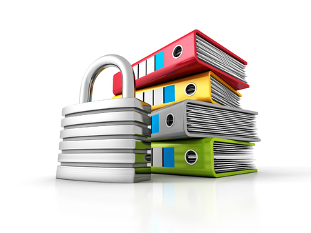 ring binders: Ring Binders With Metallic Padlock. Document Data Protection. 3d Render Illustration