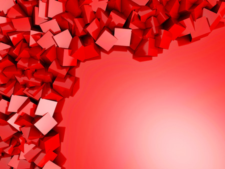 concrete block: Red Chaotic Cubes Wall Background. 3d Render Illustration