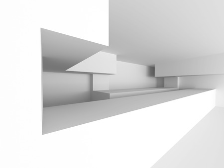 White Futuristic Chaotic Abstract Architecture Background. 3d Render Illustration