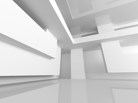 architecture abstract: White Building Construction. Abstract Architecture Background. 3d Render Illustration