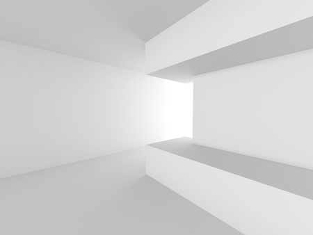 empty interior: White empty interior. Abstract architecture background. 3d render illustration