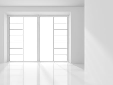 abstract building: Empty White Room Architecture Background. 3d Render Illustration