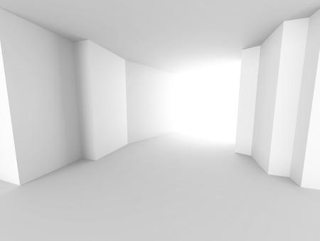 futuristic interior: Abstract white architecture background. Empty futuristic interior. 3d render illustration Stock Photo