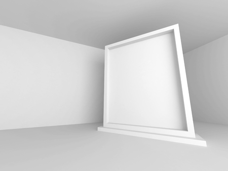 gallery interior: White 3d Room With Stand Banner. Abstract Gallery Interior Background. 3d Render Illustration Stock Photo