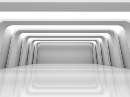 abstract building: Empty white modern room interior. 3d render illustration Stock Photo