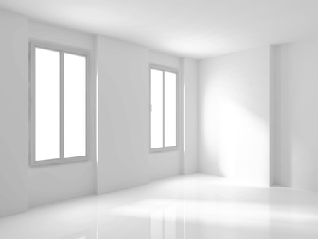 penthouse: White Empty Room Interior With Two Windows. 3d Render Illustration