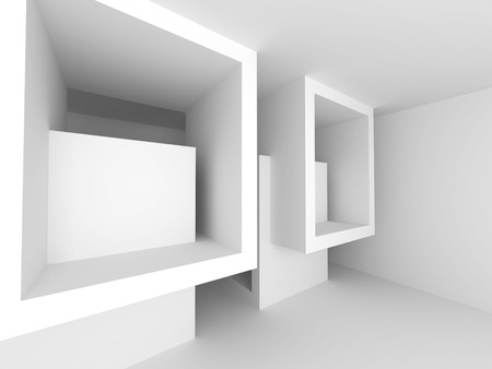 Abstract ArchitectureWhite Geometric Background. 3d Render Illustration