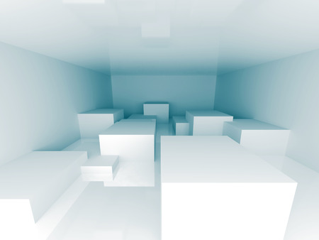 pitched roof: Abstract Blue Architecture Design Background. 3d Render Illustration