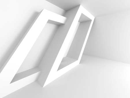 Abstract Architecture Design. White Geometric background. 3d Render Illustration Stock Photo