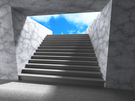 sidewall: Architecture subway stairs up steps to exit with sky. 3d render illustration Stock Photo