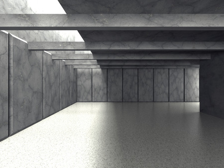 the backplate: Abstract modern empty room. Concrete walls. Architecture background. 3d render illustration Stock Photo
