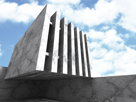 stage door: Modern concrete architecture modern building background. 3d render illustration
